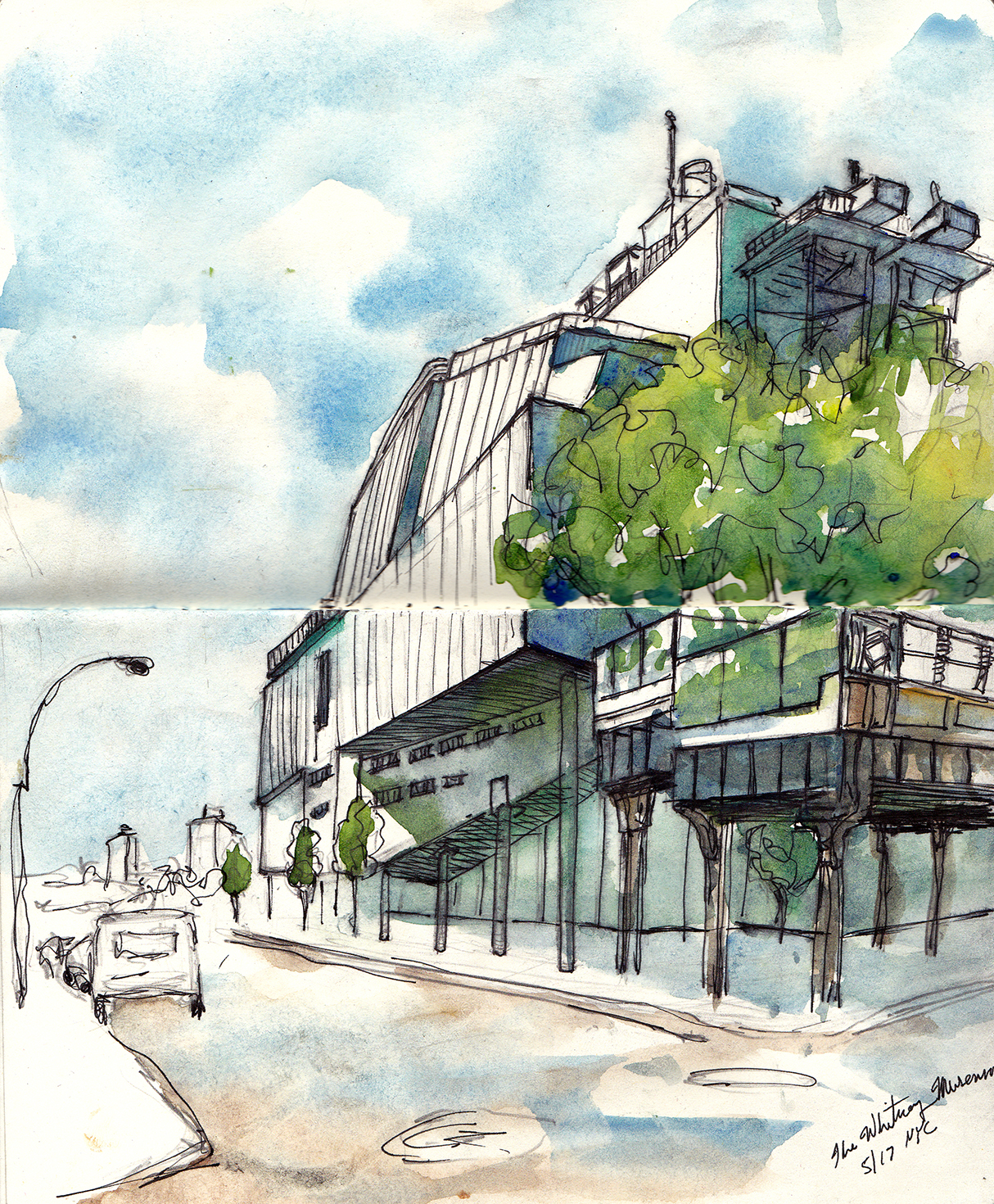Architecture Sketching Whitney Museum