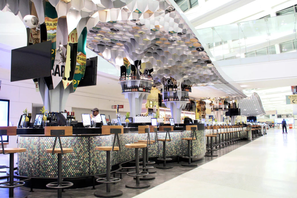 Caps Beer Garden, Newark Liberty Airport Design by Rockwell Group in collaboration with DCL
