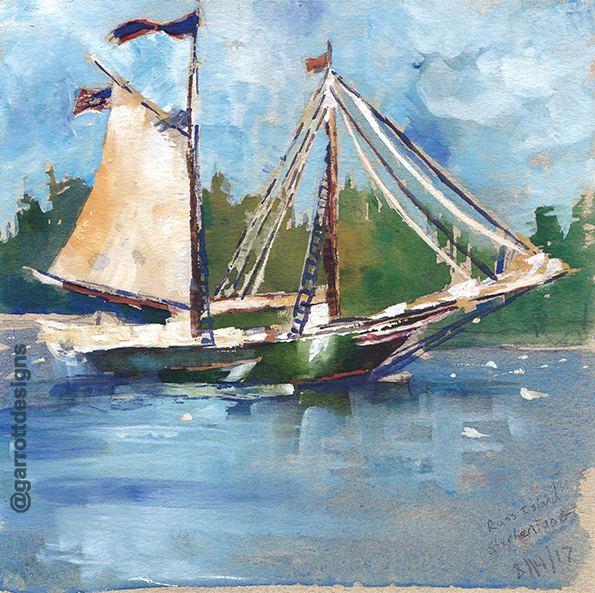 travel sketches, schooner, sailboat, art, Maine, maritime, watercolor, Stephen Taber, decor