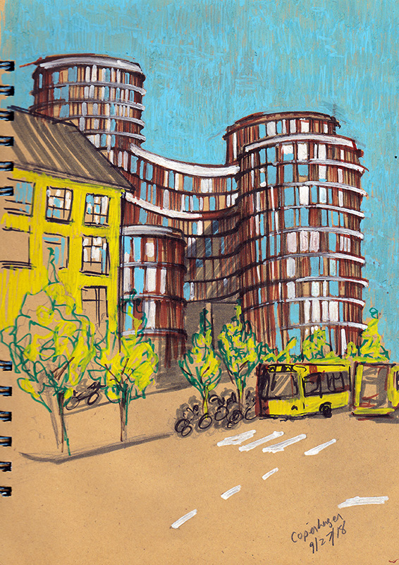 Axel Towers Sketching Architecture Design Copenhagen Denmark Art Culture Urban Planning Sustainability Sketchbook