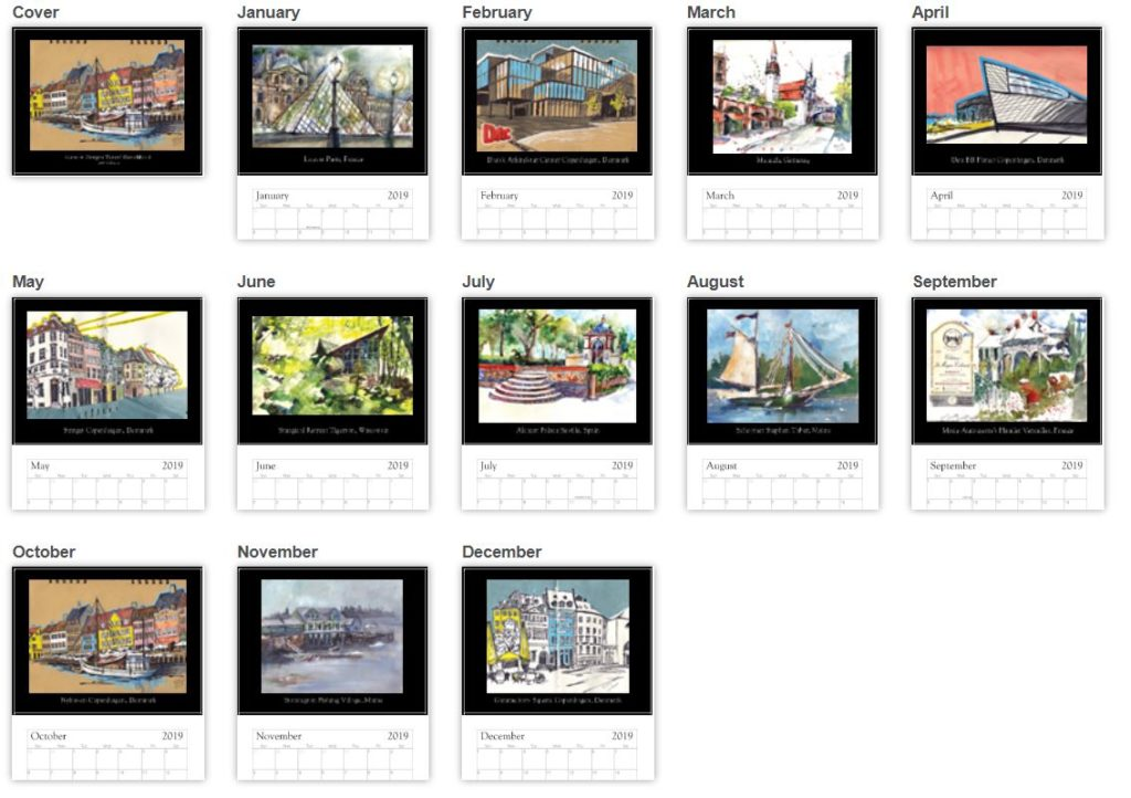 2019 wall calendar art illustration watercolor sketches urban sketchers travel drawing art garrott designs