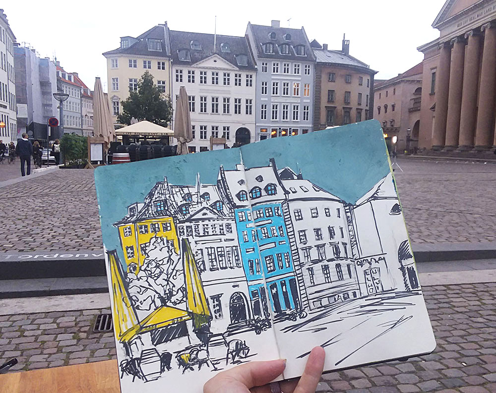 Gammeltorv Square Sketching Architecture Design Copenhagen Denmark Art Culture Urban Planning Sustainability Sketchbook