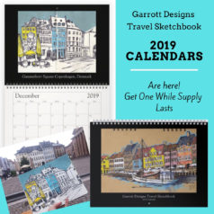 Garrott Designs Travel Sketchbook 2019 Wall Calendar is Here!