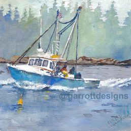 watercolor art Maine Lobster boat collector travel sketches