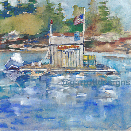 watercolor art lobster shack Maine art dealer art collector