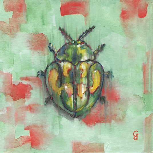 insect specimen watercolor painting original art interior design decor