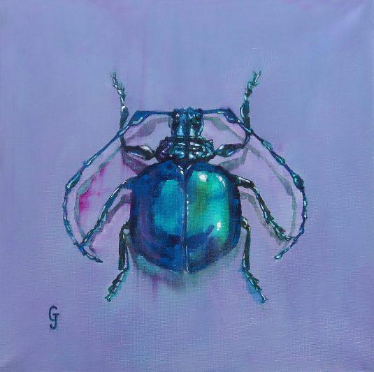 "Cyclopeplus Lacordairei ""Purple Bug"" Wrapped Canvas Original Painting"